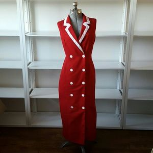 Vintage Red Tuxedo Dress or Duster